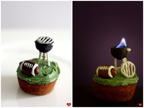 Cupcake Decorated with Football and Grill that Flames