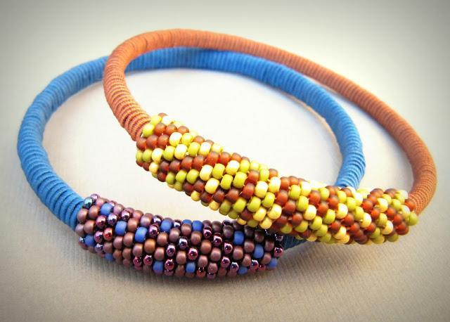 Blue and Gold Woven, Beaded Bracelets