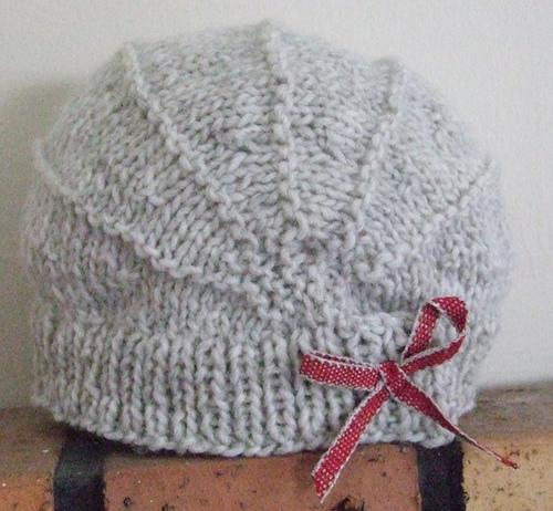 Grey Knit Hat with Maroon Ribbon Bow