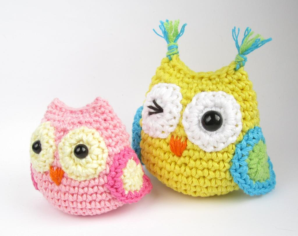 Crocheted Yellow and Pink Owls
