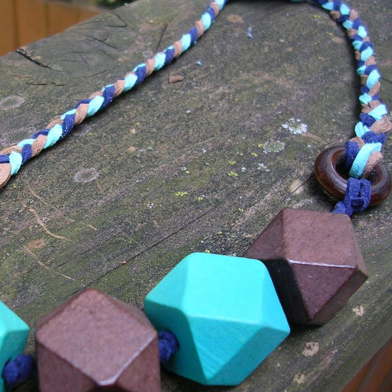 Necklace of Blue and Purple Suede and Large Blue and Purple Beads
