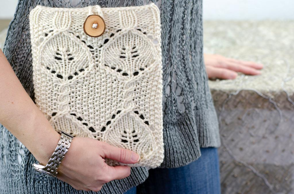 Woman Holding Cream-Colored Knitted Bag