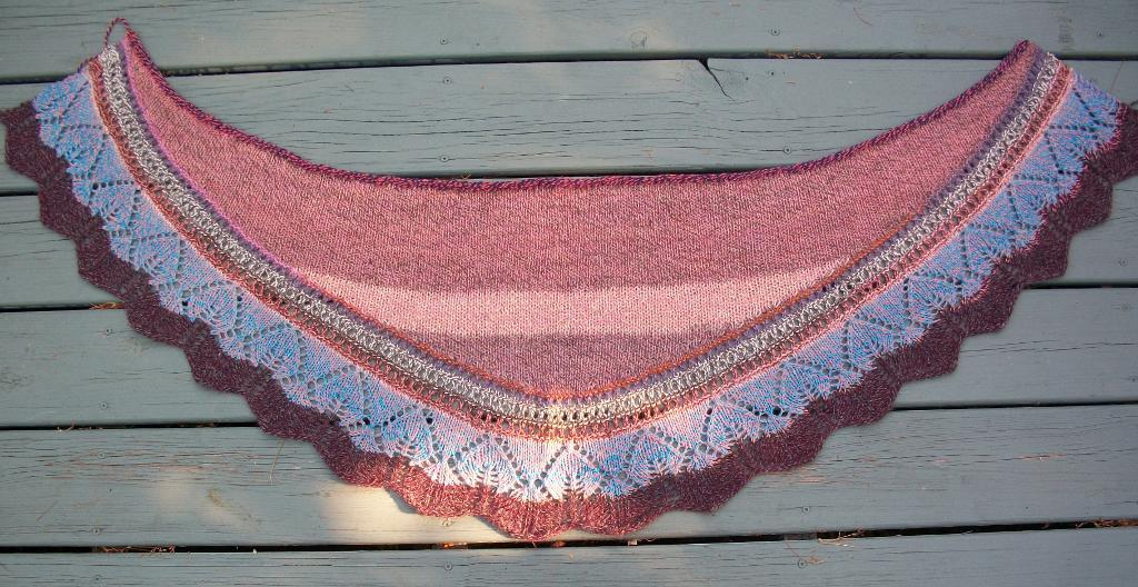 Pink Shawl with Blue and Maroon Lace