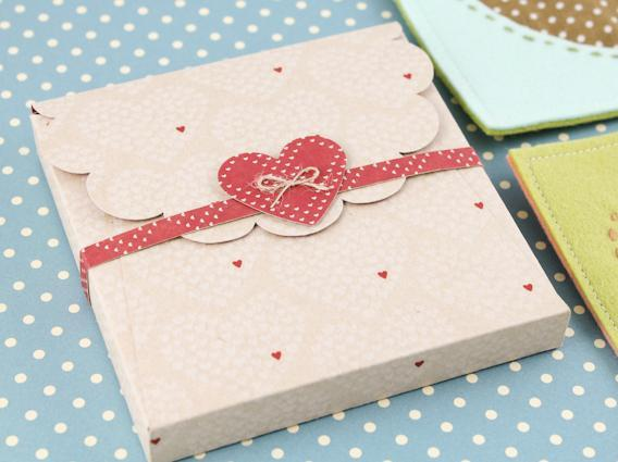 Light Pink Box Decorated with Hearts on Polka Dot Background
