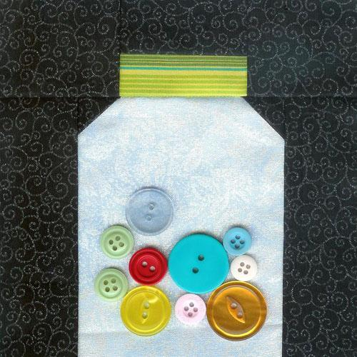 Quilted Depiction of Jar with Buttons