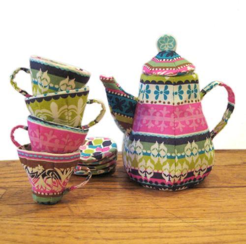 Colorful Sewn Teapot and Stack of Sewn Teacups