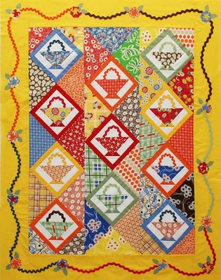 Yellow Basket-Patterned Quilt