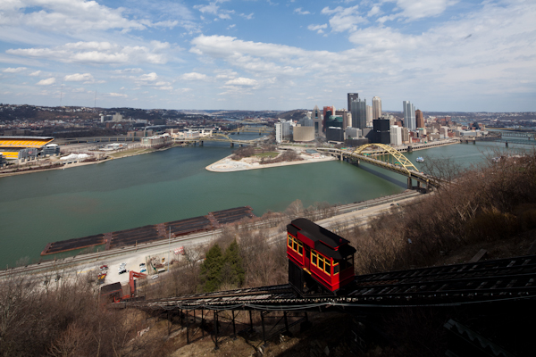Normal Image of HDR image of Allegheny River, Trolley & Downtown Pittsburgh Skyline