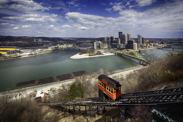 HDR image of Allegheny River, Trolley & Downtown Pittsburgh Skyline