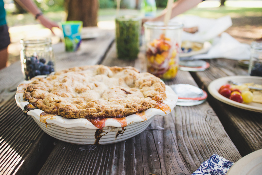 Peach Pie and Other Dishes on Picnic Table
