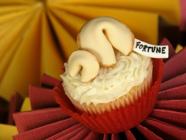 Fondant Fortune Cookies on Top of Cupcake
