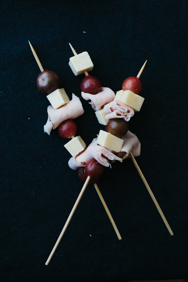 Cheese, Lunch Meat and Fruit on Skewers