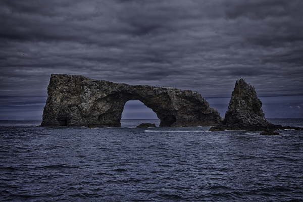 HDR Image of Rock Formations in Water, Grey Skies