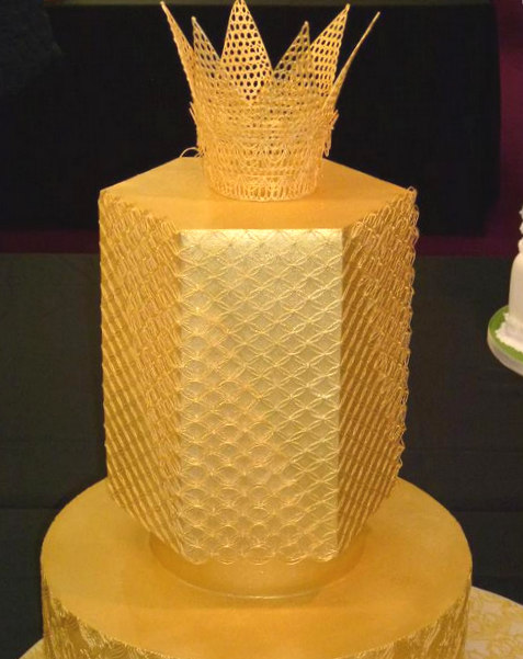Gold Textured Cake with Crown on top