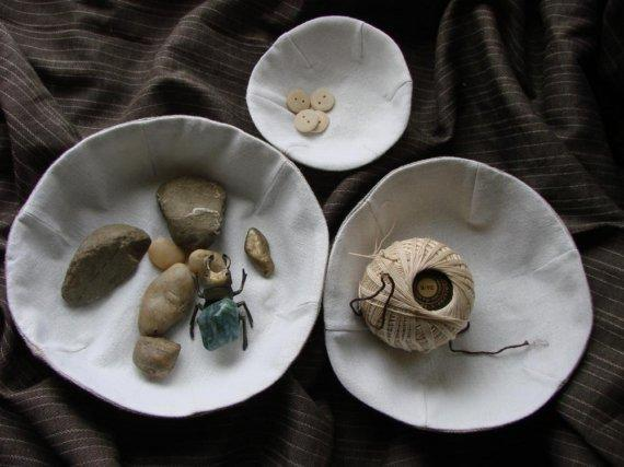 Linen Fabric Bowls Containing Odds and Ends