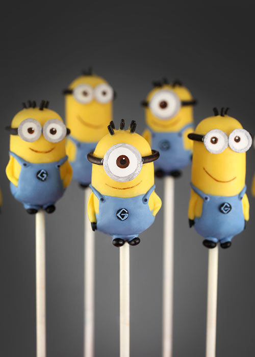 Five Minion Cake Pops