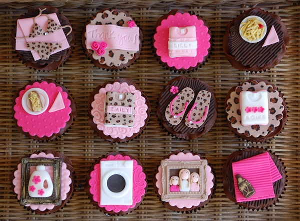 Collection of Cute Pink Personalized Fondant Toppers