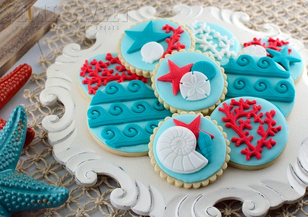 Cookies Topped with Nautical Themed Fondant Toppers