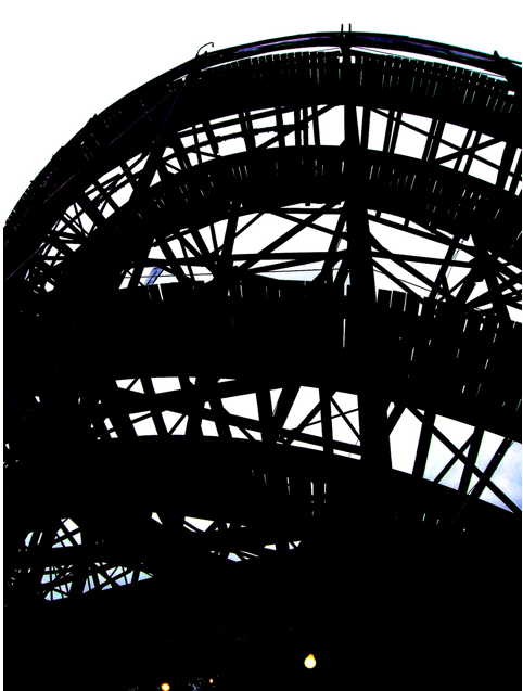 Dim View of Wooden Roller Coaster