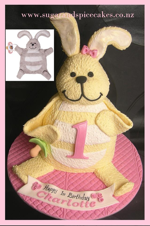 Cake Modeled Like a Fuzzy, Smiling Bunny