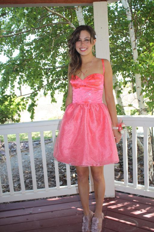 Girl on Porch in Pink Iridescent Retro Dress