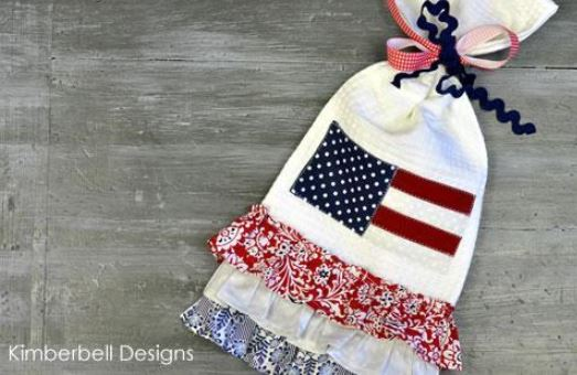 Quilted Kitchen Towel with American Flag Pattern