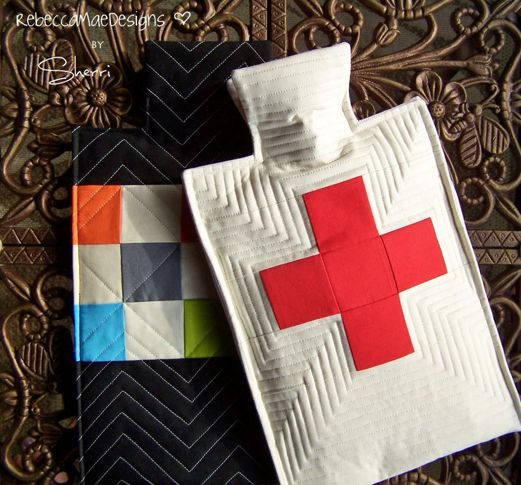 Quilted Hot Water Bottle Cover with Swiss Cross