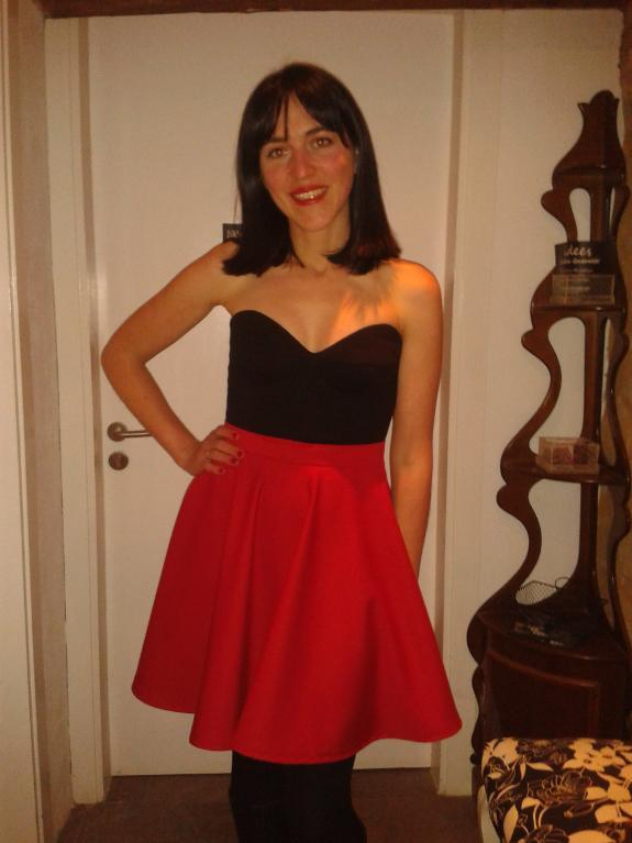 Girl in Black and Red A-Line Retro Dress
