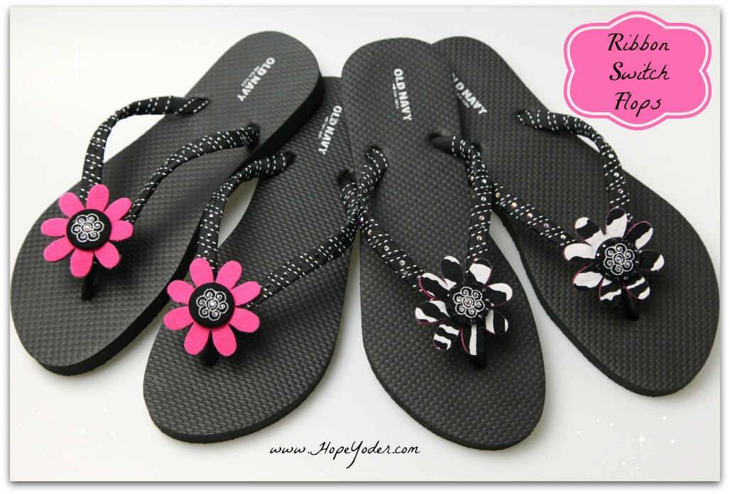 Two Pairs of Flip Flops with Colored Flowers