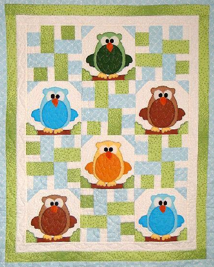 Colorful Owl Quilt with Woven Pattern
