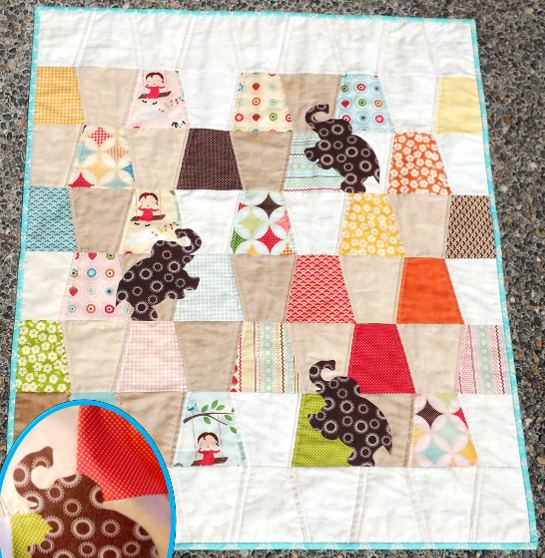 Colorful Patterned Elephant Quilt