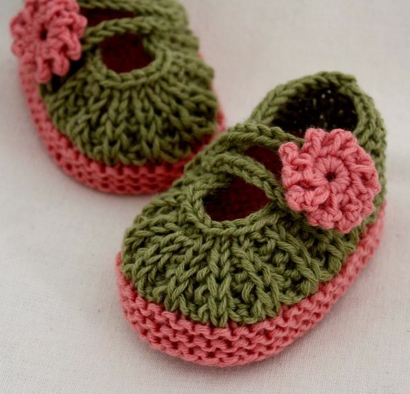 Green Knit Booties with Pink Flowers and Bottoms