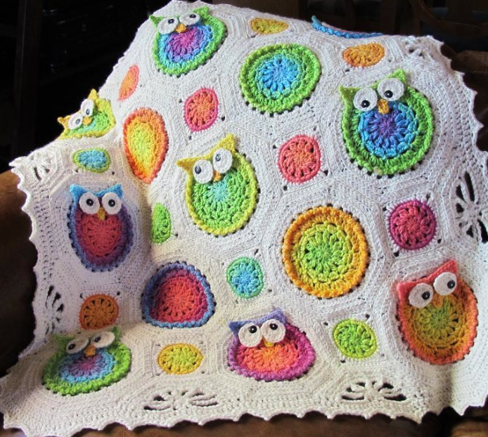 Crocheted Owl Blanket Hanging Over Chair