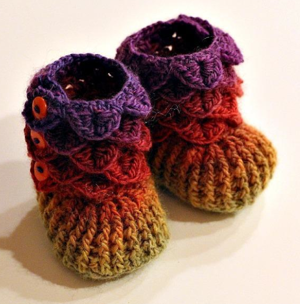 Rainbow Crocheted Baby Booties