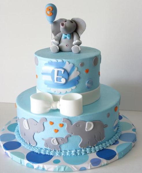 Blue Cake with Elephant and Balloon on Top