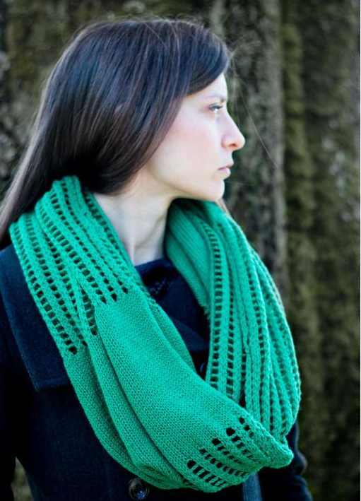 Woman Wearing Green Infinity Scarf, Looking Over her Shoulder
