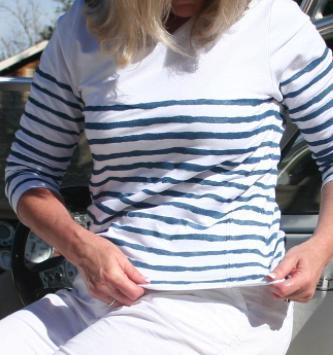 Woman Modeling Striped Nautical Shirt