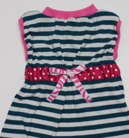 Nautical Dress with Pink Bow and Pink Trim
