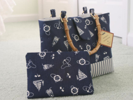 Two Totes Featuring Nautical Patterned Fabric