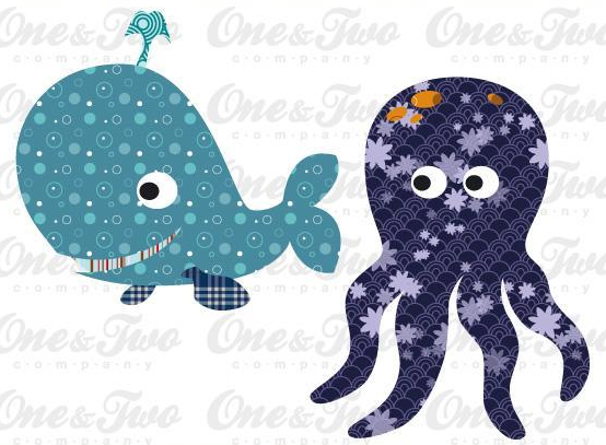 Patterned Cartoon Whale and Ocotopus