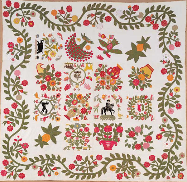 Quilt Featuring Colorful, Story-Telling Folk Design with Vines