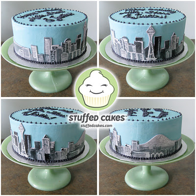 Cake Decorated with Seattle Skyline