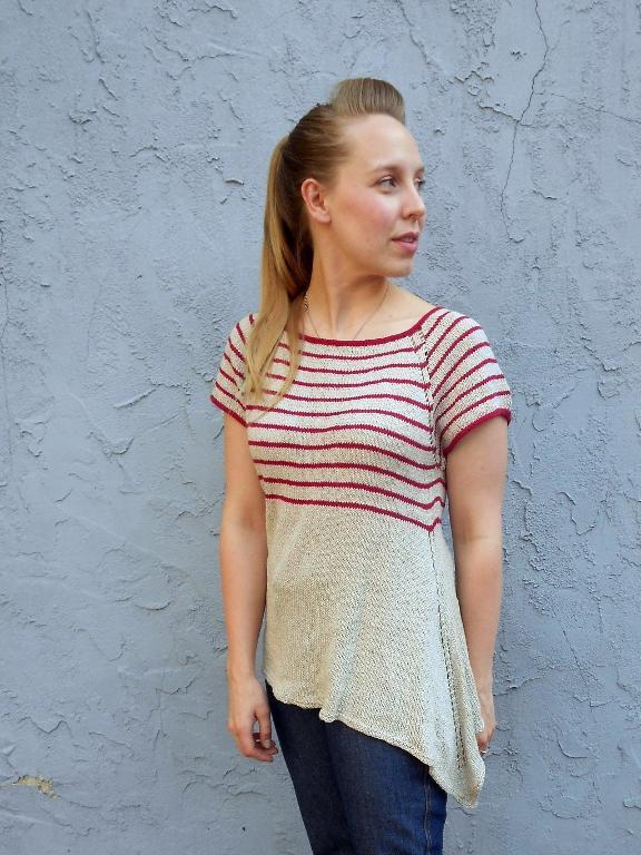 Woman Modeling Stripped Red and Cream Shirt