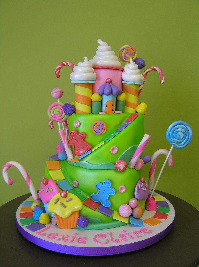 Candyland Themed Cake with Lollipops and Sugar Castle