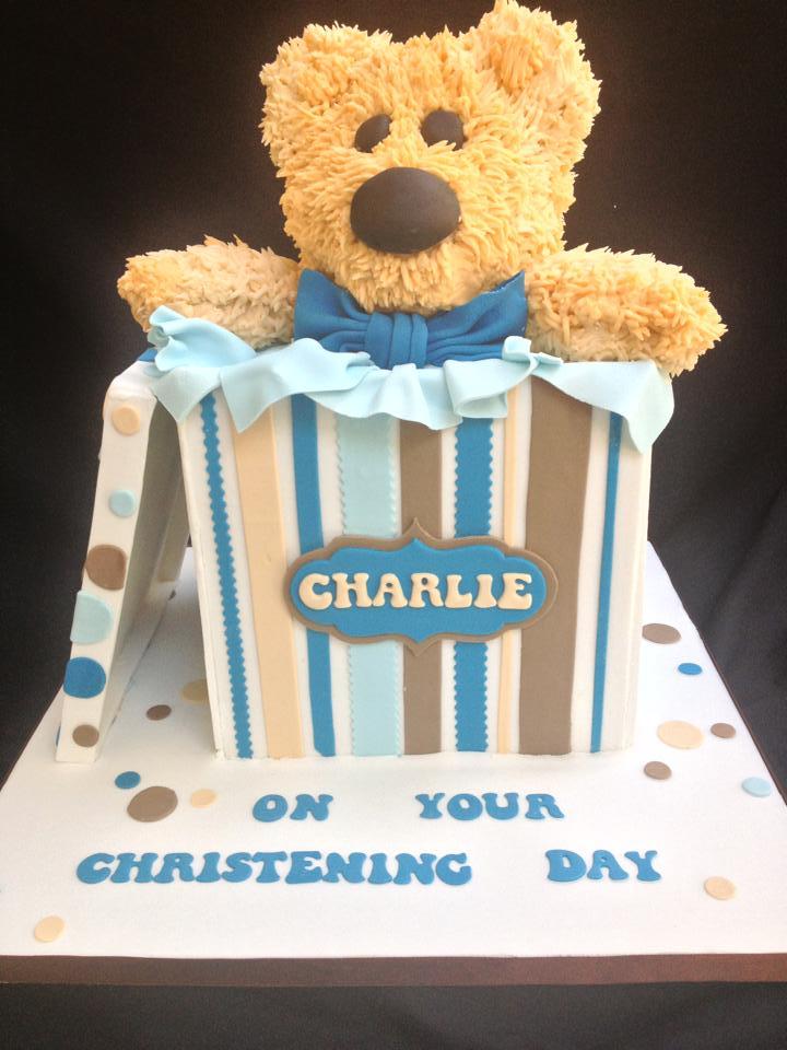 Cake Modeled as Bear Sitting in Box