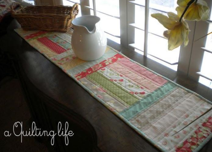 Quilted Table Runner Next to Window, Pitcher on Top