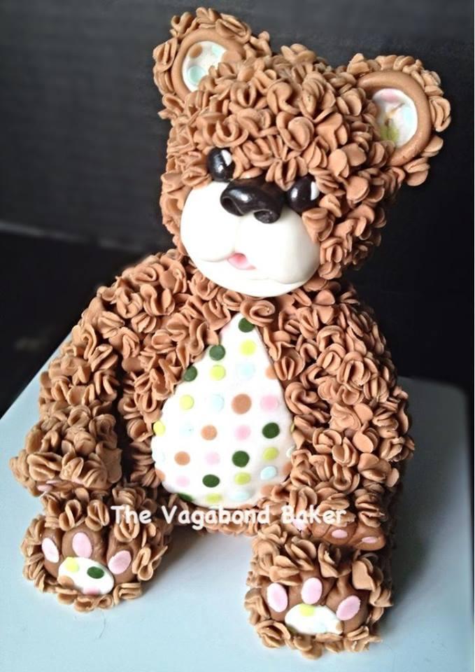 Cake Shaped Like Textured Teddy Bear