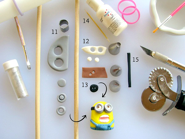Fondant Tools Laid Out with Pieces of Fondant and Minion