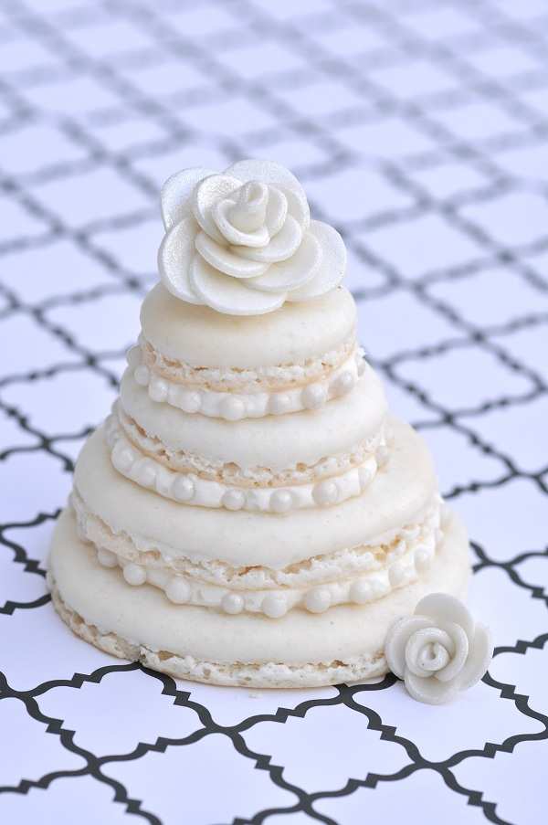 Layered Macaroon Topped with Fondant Rose