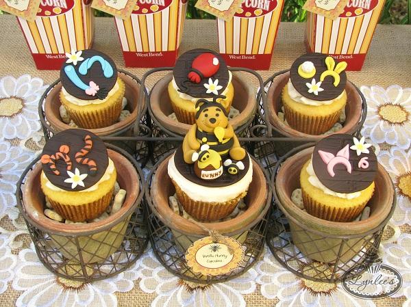 Pooh Bear Fondant Topped Cupcakes